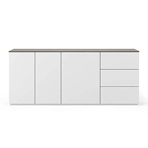 Buffets Design et élégants, Collection Join, signée TEMAHOME. - Join 200H1, Base Classique, Blanc Mat, Plateau en Noyer