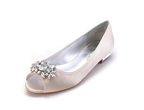 MarHermoso Womens Peep Toe Flats Elegant Champagne Satin Wedding Bridal Ballet