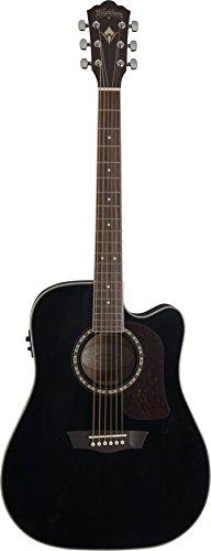 Washburn HD10SCEB Heritage 10 Series - Guitarra acústica, color negro brillante