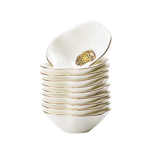 YI0877CHANG Plato de Salsa Plato de Porcelana de usos múltiples guarniciones Tazón de aderezo de Soja Salsa Platos-Conjunto de 10-Blanco y Oro Plato Condimento