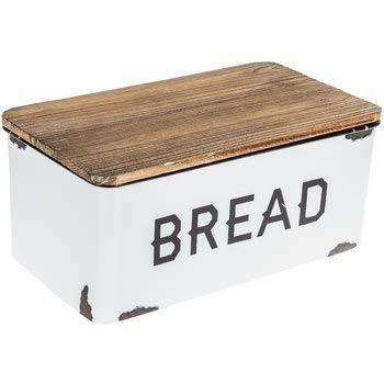 White Enamel Bread Box Kitchen Storage Container Decoration