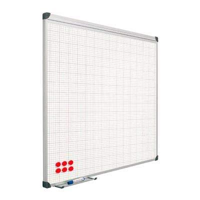 Planning Sisplamo 202428 - Pizarra blanca vitrificada, cuadriculada, 60 x 90 cm