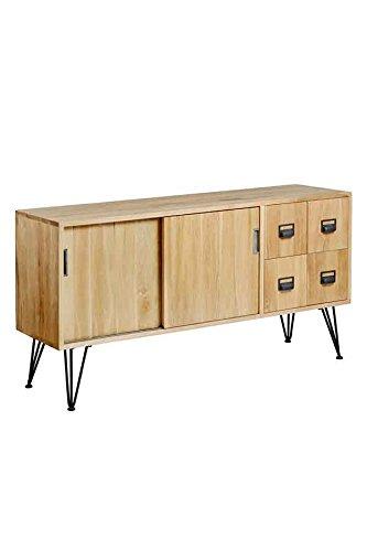 My-Furniture Felix Media Sideboard im Industriestil aus massiver Eiche und Stahl