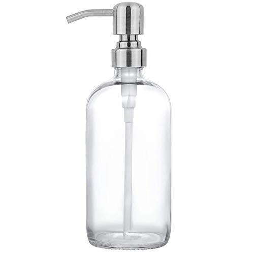 GLUBEE Dispensador de jabón Dispensador de jabón Transparente para Fregadero de Cocina, dispensador de jabón de Mano de Vidrio, Ideal para aceites Esenciales de jabón líquido (Transparente, 500 ml)