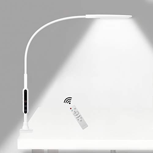 電気スタンド クリップライト ledデスクライト アームライト ライトスタンド 卓上ライト 目に優しい 5段調色(暖色/昼光色/白色) 無段階調光 360°回転 平面発光 クランプライト タイマー 記憶機能 リモコン付き ホワイト