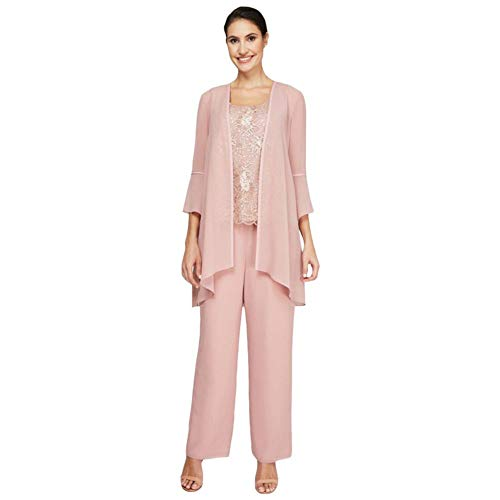 Three-Piece Lace and Georgette Jacket and Pant Set Style 26975, Rose Gold, 18