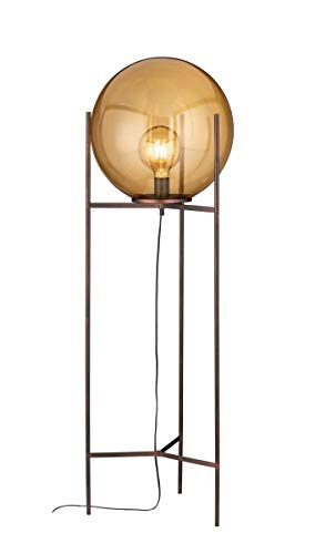 WOFI Innenleuchte, Wohnraum, Standleuchte, Stehleuchte, Leuchte, Stehlampe, Lampe, antikbraun, klassisch Glas 40 W, Braunfarbig
