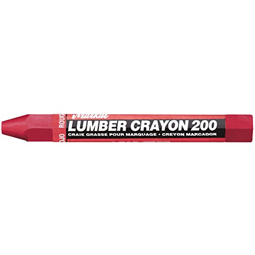 Markal 200 Lumber Crayon Economical Wax Based Marker, 1/2' Hex, 4-5/8' Length, Red (Pack of 12)