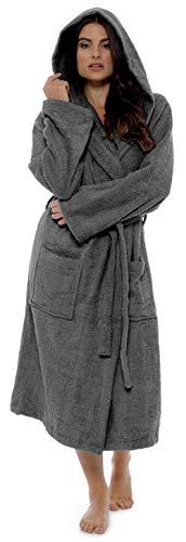 CityComfort Damen Robe Luxus Terry Frottee Baumwolle Bademantel Bademantel hoch saugfähige Frauen mit Kapuze und Schal Handtuch Bad Wickeln (L, Kohlengrau)