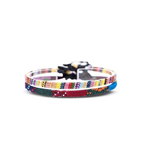 Made by Nami Boho Surfer-Armband 2-er Set Damen & Herren - Handmade Strand Festival Accessoires - Ethno Hippie Style - 100% Wasserfest & Verstellbar - Freundschaftsarmbänder Mädchen (Gelb & Ethno)