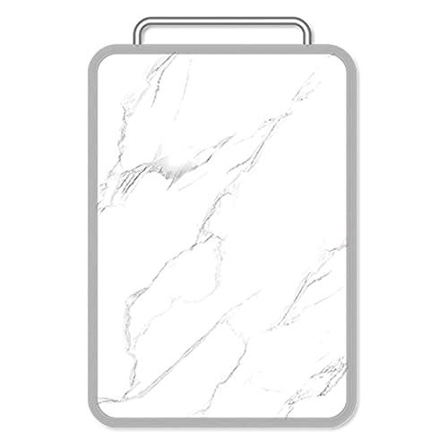 HHTD Tabla de Cortar de Doble Cara Cocina Carne de Corte y Tablero de Corte Vegetal Panel de Acero Inoxidable y Panel de plástico con Mango y Jugo Patrón de mármol