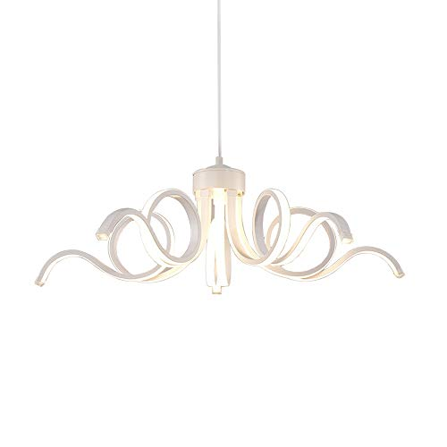 75W LED Suspension Lumière de plafond Dimmable avec télécommande Lampe suspendue Moderne Créatif Blanc mat Rond Fleur Désign Abat jour Lustre Salon Cuisine salle à manger Table Chambre Bar Éclairage