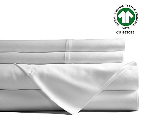 Best Fitted Sheet Set Organic Cotton - White Organic Sheets Queen - 400 TC Cotton Bed Sheets for Bed - Organic Queen Sheet Set - 4 Pc Set Cotton Queen Sheet White(Flat & Fitted Sheet, 2 Pillow Case)