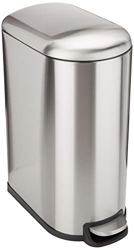 AmazonBasics Stainless Steel Rectangular Soft-Close Trash Can with Foot Petal for Narrow Spaces - 40L / 10.5 Gallon