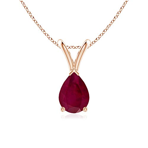 V-Bale Pear-Shaped Ruby Solitaire Pendant in 14K Rose Gold (7x5mm Ruby)