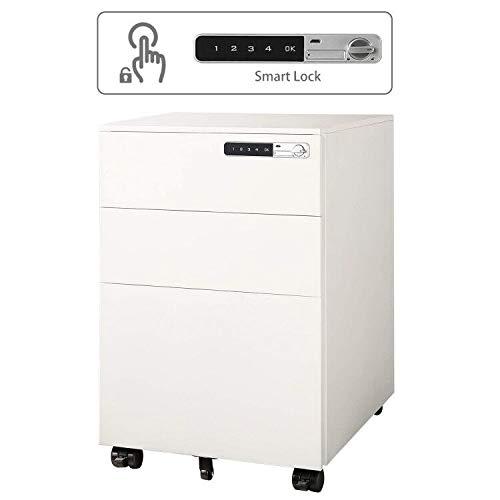 DEVAISE Metall Rollcontainer Aktenschränke mit Smart Lock und Berührungssensitiven Bildschirm (Weiß)