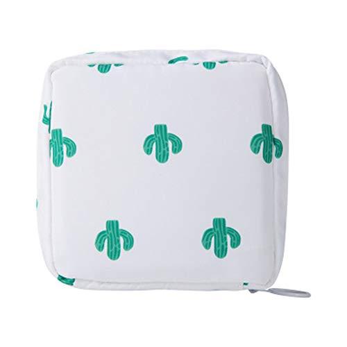 Lackingone Bolsa de almacenamiento gran capacidad para tampones, compresas sanitarias, organizador para compresas, toallitas, pintalabios, llaves, 12 x 12 x 4 cm (color blanco con cáctus)