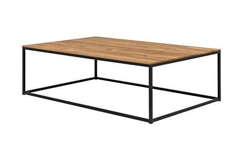 Woodlive Massivholz Couchtisch Wildeiche rechteckig 110cm x 70cm x 34cm Wohnzimmer-Tisch Metallgestell schwarz