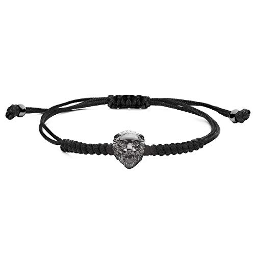 Obelizk Black Lion Cord Armband | Löwenkopf Macrame-Armband mit verstellbarem Knotenverschluss| Luxury Herren Accessories Guide