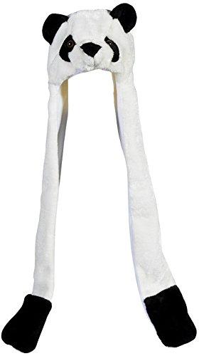 Plush Panda Hat Novelty Cap Animal Costume Beanie With Long Paws