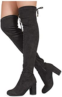 39703a502dc5 RF ROOM OF FASHION Women's Over The Knee Block Chunky Heel Stretch Boots  (Medium and
