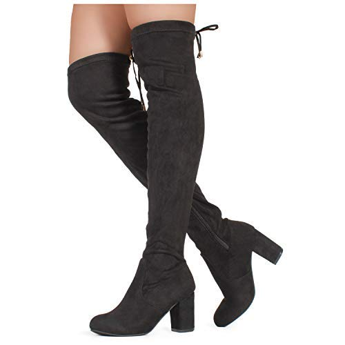 28a30266f95a RF ROOM OF FASHION Women s Over The Knee Block Chunky Heel Stretch Boots  (Medium and