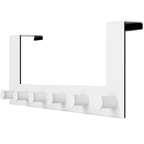 WEBI Over The Door Hook,Door Hanger:Over The Door Towel Rack,6 Peg Door Hooks for Hanging,Door Coat Hanger Over The Door Coat Rack for Towels,Clothes,Behind Back of Bathroom,White