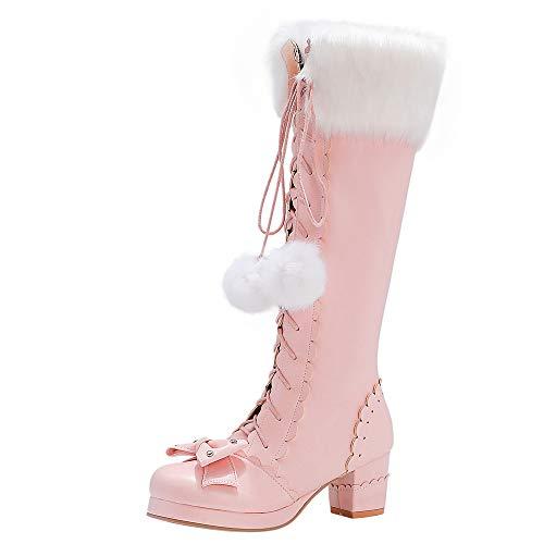 Slenderer Plus Size Lange Stiefel Mid Heels Damen Fancy Lolita Schuhe Plateau Overkneestiefel Cosplay Stiefel Bogen Pelz Stiefel Schnüren Pink Size 34