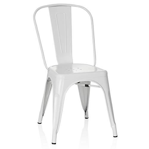 hjh OFFICE 645037 Sedia da bistró VANTAGGIO BRUSH Metallo Bianco opaco Sedia da bistró in stile industriale, impilabile