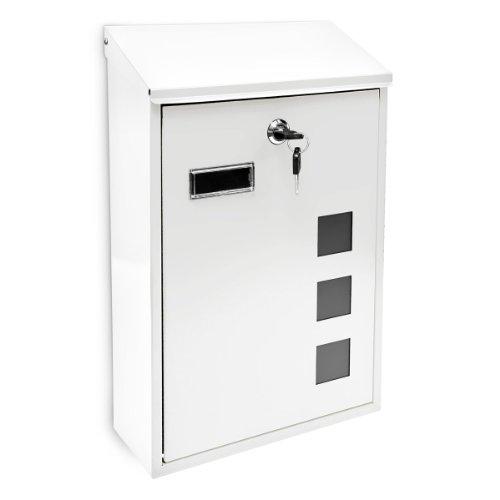 Relaxdays 10017417_W Weiß Design Briefkasten aus Metall 25x40 cm