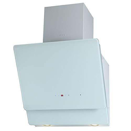 NEG Dunstabzugshaube KF596EKW (Umluft/Abluft) weiß 60cm kopffrei mit LED-Beleuchtung, Randabsaugung und Fernbedienung, Glas-Front, 5 Motorstufen (max. 850m³/h), sehr leise