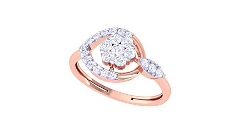 Jiana Jewels 14K Gold 0.28 Carat (H-I Color,SI2-I1 Clarity) Lab Created Diamond Cluster Ring (0.28 Ct Pink Diamond)