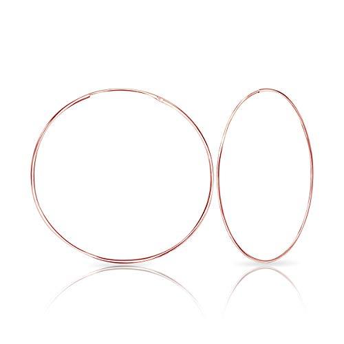 DTPsilver® Pendientes de Aro/Creoles - Plata de Ley 925 Plateada en Oro Rosa - Pequeños/Medianos/Grandes - Espesor 1.5 mm - Diámetro 50 mm