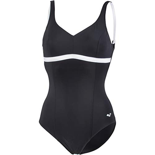 Arena W Therese Squared Back One Piece Kostuum Intero ondersteuning dames, dames, 001375, zwart/wit