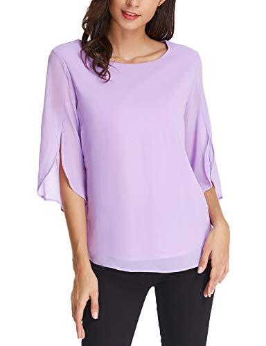 Basic Half Ruffle Sleeve Chiffon Blouse Casual Tops Size L Purple