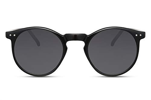Cheapass Lunettes de Soleil Rondes Monture Brillante Noire avec des Verres Foncés Vintage Protection UV400 Hommes Femmes