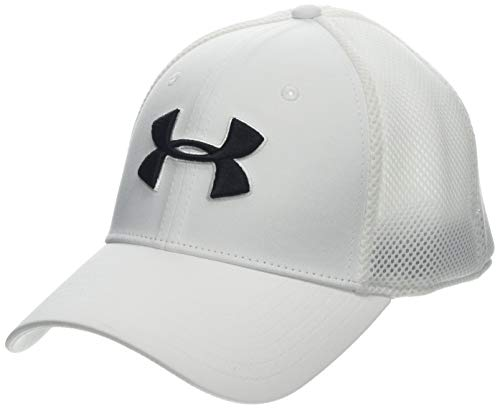 Under Armour Gorra de malla de golf Microthread, para hombre, White (100)/Academy, Mediano/Grande