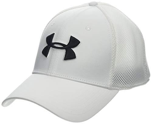 Under Armour Herren UA Classic Mesh Bequeme Baseball Cap für Männer mit Flacher Passform, Golf-Kappe mit Stick-Detail, Weiß (White), L