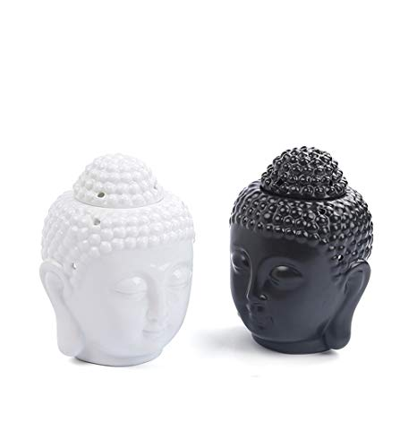 GFKD Buddha Cera derretir el Aceite de petróleo con la Cuchara de tealight Conjunto de 2, cerámica Quemador de tas de Cera difusor para la Cabeza para el SPA de Yoga Regalo Decorativo de la Oficina