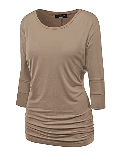 Made By Johnny MBJ WT822 Womens 3/4 Sleeve with Drape Top XXL Taupe