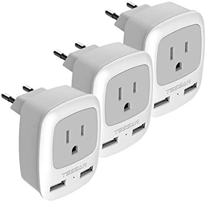 European Plug Adapter 3 Pack TESSAN International Travel Power Adaptor 2 USB Type C Outlet Adapter product image