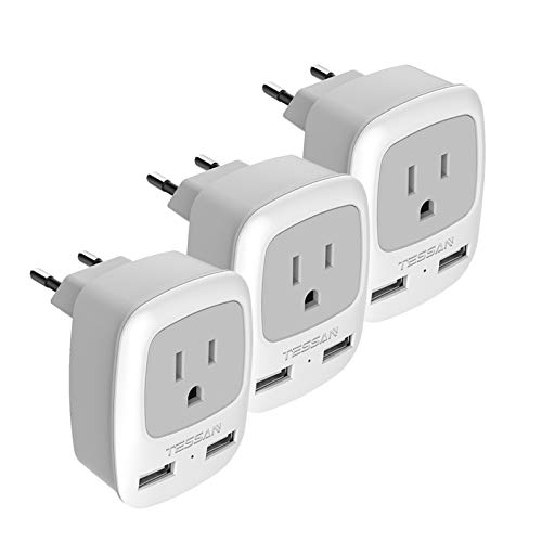 European Plug Adapter 3 Pack, TESSAN International Travel Power Adaptor 2 USB, Type C Outlet Adapter Charger USA to Most of Europe EU Spain Iceland Italy Germany France Israel