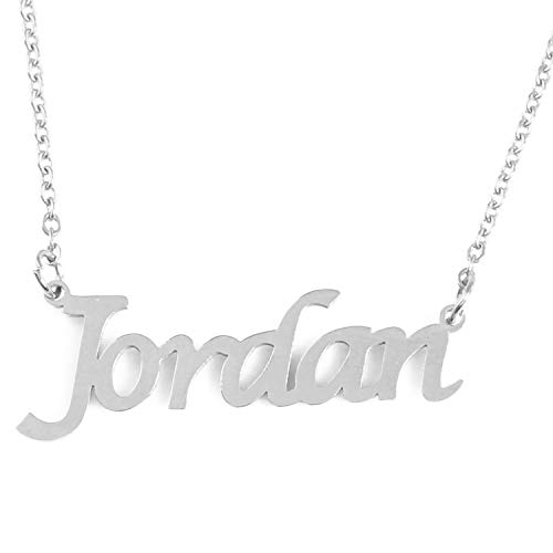Kigu Jordan Personalized Name Necklace Adjustable Chain - Silver Tone Packaging