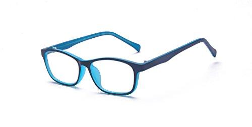 ALWAYSUV Blaulicht blockierende Brille Vintage Nerd Square Keyhole Design Brillenrahmen für Kinder Kinder Teens Blau