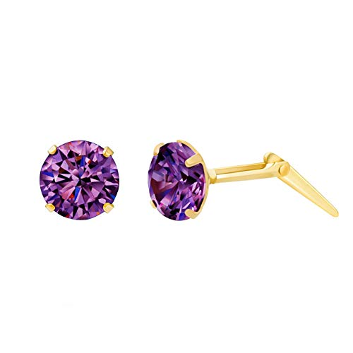 9ct yellow gold 5mm amethyst cubic zirconia cz earrings gift box included