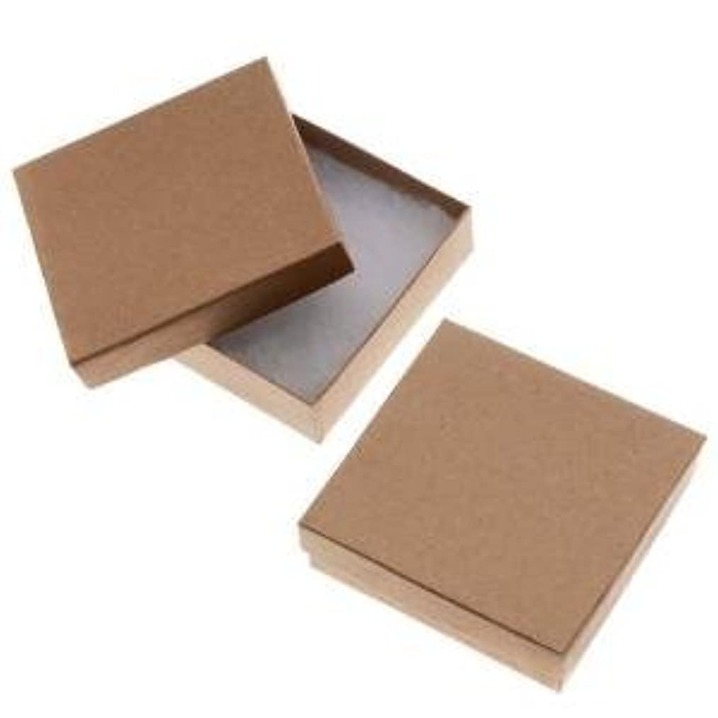 20 Pack Kraft 3.5 X 3.5 X 1 Inch Size Cotton Filled Jewelry Presentation Gift Boxes