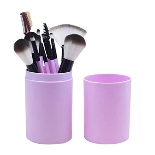 MYKOMI Juego de brochas de maquillaje, 12 brochas de maquillaje para base, sombra de ojos, cejas, delineador de ojos, colorete en polvo, corrector de contorno (morado)