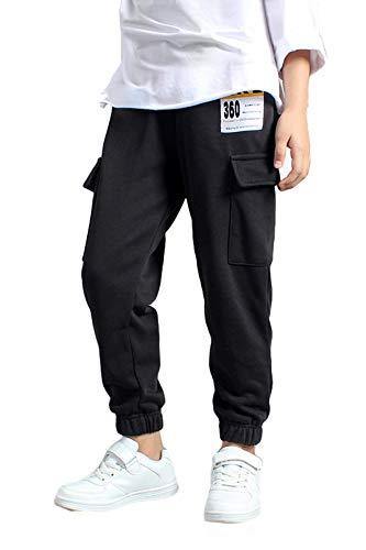 Rolanko Pantaloni Ragazzo,Pantaloni Tuta Bambino,Pantaloni da Jogging in Cotone,Pantalone Sportivi Pantaloni Cargo(Nero,11-12 Anni)