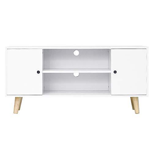 TV Meubel TV Lowboard met 2 Deuren 2 Vakken Wit, 116x39,5x53,5 cm