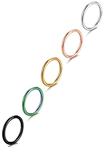 FIBO STEEL 16G Stainless Steel Stainless Steel Septum Piercing Nose Ring Hoop Earring Piercing 5PCS 3/8'(10mm)